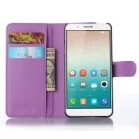 Чехол портмоне подставка на пластиковой основе и на магнитной защелке для Huawei ShotX Фиолетовый