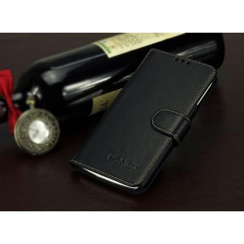 Кожаный чехол портмоне (нат. кожа) для Lenovo Vibe X Черный