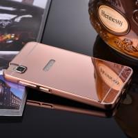 Двухкомпонентный чехол с металлическим бампером и поликарбонатной накладкой с зеркальным покрытием для Huawei ShotX Розовый