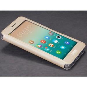 Чехол флип подставка с полноэкранным окном вызова на силиконовой основе текстура Золото для Huawei ShotX