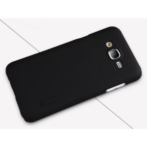 Пластиковый матовый нескользящий премиум чехол для Samsung Galaxy J7 Черный