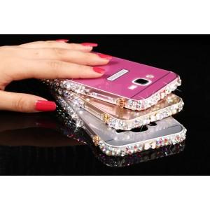 Двухкомпонентный чехол с металлическим бампером с ручной аппликацией стразами и поликарбонатной накладкой для Samsung Galaxy J7