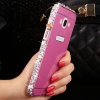 Двухкомпонентный чехол с металлическим бампером с ручной аппликацией стразами и поликарбонатной накладкой для Samsung Galaxy J7 Пурпурный