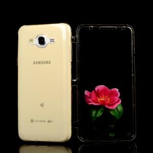 Двухкомпонентный силиконовый чехол горизонтальная книжка с акриловой полноразмерной транспарентной смарт крышкой для Samsung Galaxy J7 Бежевый