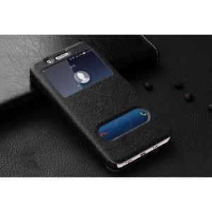Чехол флип подставка на пластиковой основе с окном вызова и свайпом на магнитной защелке для Huawei ShotX