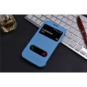 Чехол флип с окном вызова и свайпом на пластиковой основе для Samsung Galaxy Grand Duos Синий