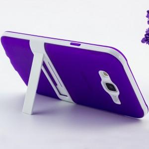 Двухкомпонентный силиконовый чехол с поликарбонатной накладкой с встроенной ножкой-подставкой для Samsung Galaxy J7 Фиолетовый