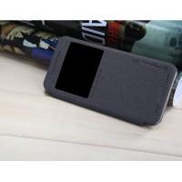 Чехол флип на пластиковой нескользящей основе с окном вызова для HTC One ME Черный