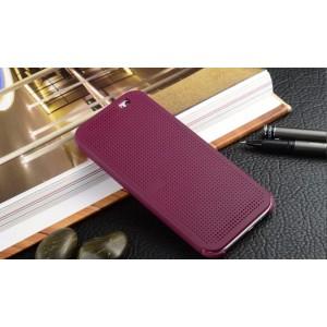 Точечный чехол смарт флип с функциями оповещения для HTC One ME Фиолетовый