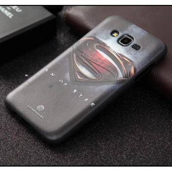Силиконовый матовый чехол с объемно-рельефным принтом для Samsung Galaxy J7