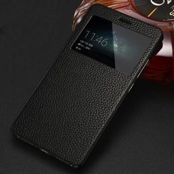 Кожаный чехол флип подставка (премиум нат. Кожа ) на пластиковой основе с окном вызова для Huawei Mate S