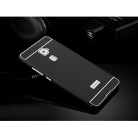 Двухкомпонентный чехол с металлическим бампером и поликарбонатной накладкой с отверстием для логотипа для Huawei Mate S Черный