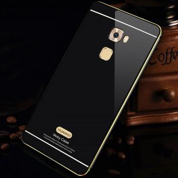 Двухкомпонентный чехол с металлическим бампером с золотой окантовкой и поликарбонатной накладкой с отверстием для логотипа для Huawei Mate S
