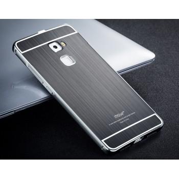 Двухкомпонентный чехол с металлическим бампером и поликарбонатной накладкой с текстурным покрытием Металл для Huawei Mate S