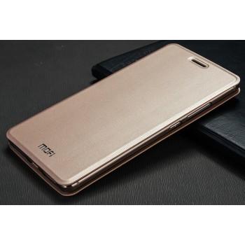 Глянцевый чехол флип подставка водоотталкивающий на силиконовой основе текстура Металлик для Huawei Mate S