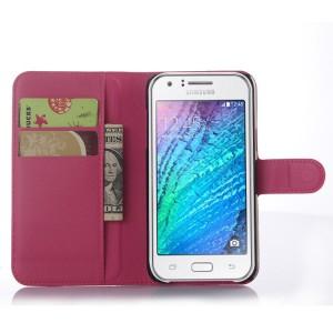 Чехол портмоне подставка на магнитной защелке для Samsung Galaxy J5 Пурпурный