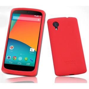 Премиум софт-тач силиконовый чехол для Google Nexus 5 Красный