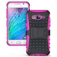 Противоударный двухкомпонентный чехол с поликарбонатной накладкой экстрим защита для Samsung Galaxy J5 Розовый