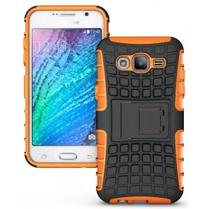 Противоударный двухкомпонентный чехол с поликарбонатной накладкой экстрим защита для Samsung Galaxy J5 Оранжевый