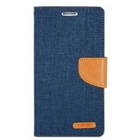 Чехол портмоне подставка на силиконовой основе с тканевым покрытием на магнитной защелке для Samsung Galaxy J5 Голубой