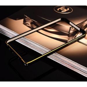 Металлический округлый бампер на пряжке с золотой окантовкой для Samsung Galaxy J5