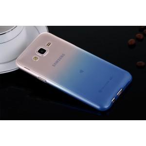 Силиконовый полупрозрачный градиентный чехол для Samsung Galaxy J5 Синий