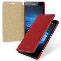 Кожаный чехол горизонтальная книжка (нат. кожа) для Microsoft Lumia 950 XL Красный