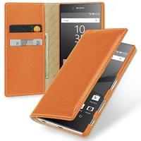 Кожаный премиум чехол портмоне (нат. кожа) для Sony Xperia Z5 Premium Оранжевый