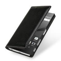 Кожаный премиум чехол портмоне (нат. кожа) для Sony Xperia Z5 Premium Черный