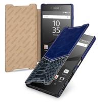 Эксклюзивный кожаный чехол горизонтальная книжка премиум (2 вида нат. кожи) ручной работы для Sony Xperia Z5 Premium