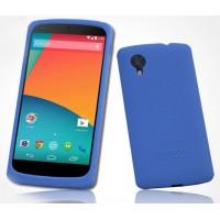 Премиум софт-тач силиконовый чехол для Google Nexus 5 Синий