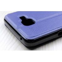 Чехол флип подставка с окном вызова и отделением для карты на силиконовой основе для Samsung Galaxy A3 (2016) Синий