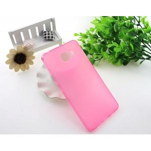 Силиконовый матовый полупрозрачный чехол для Samsung Galaxy A7 (2016) Розовый