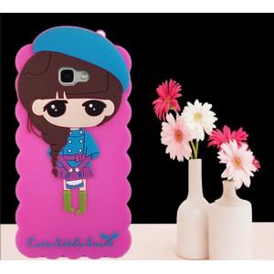 Силиконовый дизайнерский фигурный чехол для Samsung Galaxy A5 (2016) Розовый