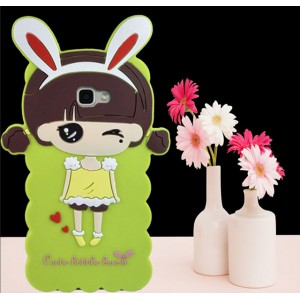 Силиконовый дизайнерский фигурный чехол для Samsung Galaxy A5 (2016) Зеленый
