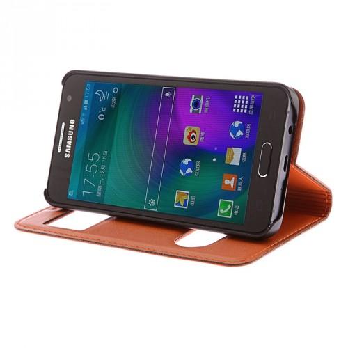 Кожаный чехол флип подставка на пластиковой основе с окном вызова и свайпом для Samsung Galaxy J5