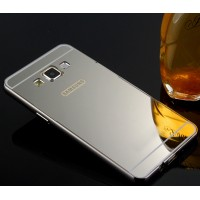 Двухкомпонентный чехол с металлическим бампером и поликарбонатной накладкой с зеркальным покрытием для Samsung Galaxy J5 Серый