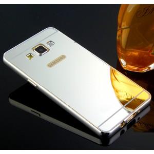 Двухкомпонентный чехол с металлическим бампером и поликарбонатной накладкой с зеркальным покрытием для Samsung Galaxy J5