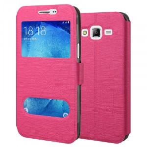 Чехол флип подставка текстура Линии на силиконовой основе с окном вызова и свайпом на магнитной защелке для Samsung Galaxy J5 Розовый