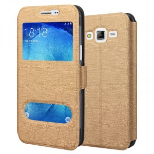 Чехол флип подставка текстура Линии на силиконовой основе с окном вызова и свайпом на магнитной защелке для Samsung Galaxy J5 Бежевый