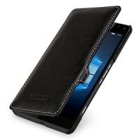 Кожаный чехол горизонтальная книжка (нат. кожа) с крепежной застежкой для Microsoft Lumia 950 XL Фиолетовый