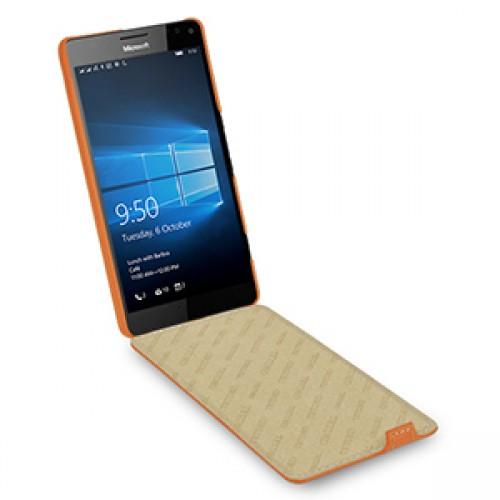 Кожаный чехол вертикальная книжка (нат. кожа) для Microsoft Lumia 950 XL