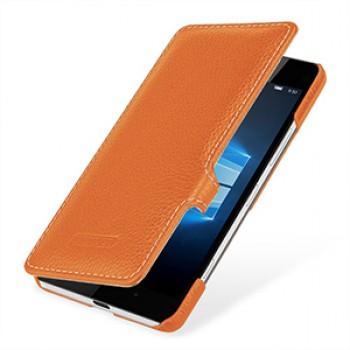 Кожаный чехол горизонтальная книжка (нат. кожа) с крепежной застежкой для Microsoft Lumia 950
