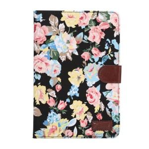 Чехол книжка подставка текстура Цветы на поликарбонатной основе с отделениями для карт для Samsung Galaxy Tab A 9.7