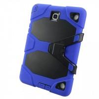 Противоударный двухкомпонентный силиконовый чехол с поликарбонатными вставками для экстрим защиты и ножкой-подставкой для Samsung Galaxy Tab A 9.7 Синий