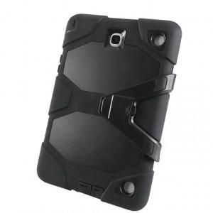 Противоударный двухкомпонентный силиконовый чехол с поликарбонатными вставками для экстрим защиты и ножкой-подставкой для Samsung Galaxy Tab A 9.7 Черный