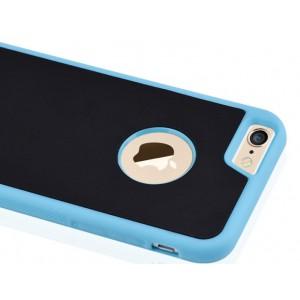 Эксклюзивный двухкомпонентный противоударный чехол силикон/поликарбонат с липучей задней поверхностью для Iphone 6/6s Голубой