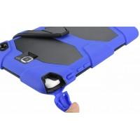 Противоударный двухкомпонентный силиконовый чехол с поликарбонатными вставками для экстрим защиты и встроенной ножкой-подставкой для Samsung Galaxy Tab A 8 Синий