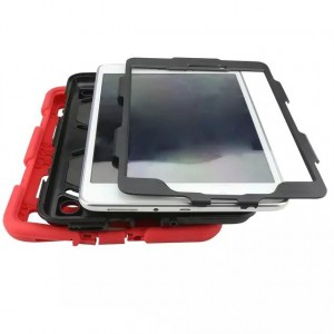 Противоударный двухкомпонентный силиконовый чехол с поликарбонатными вставками для экстрим защиты и встроенной ножкой-подставкой для Samsung Galaxy Tab A 8 Красный