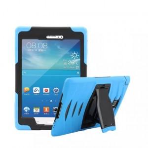 Противоударный двухкомпонентный силиконовый чехол с поликарбонатными вставками для экстрим защиты и встроенной ножкой-подставкой для Samsung Galaxy Tab A 8 Голубой